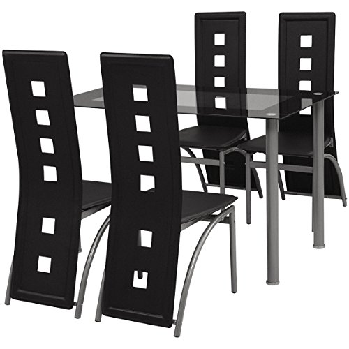5 Piece Metal Dining Set 1 Table 4 Chairs Dining Room Kitchen Furniture, (Amish Dining Room China Cabinet)