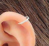 18 Gauge Silver Cartilage Hoop 7 mm solid silver Hoop Earring, Helix piercing Earrings