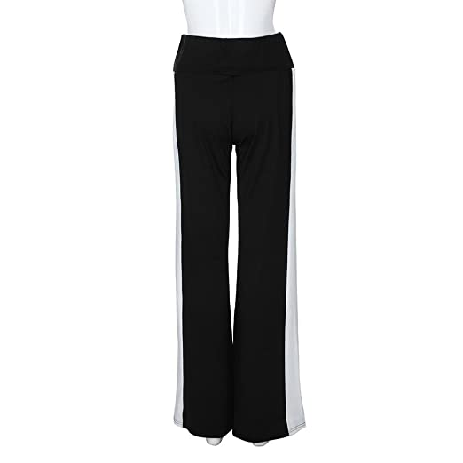 d99fabcfd48 Amazon.com  Elogoog Hot Sale 2018 Women s Classic Black-White Stripes Wide  Leg High Waisted Yoga Palazzo Long Pants  Clothing