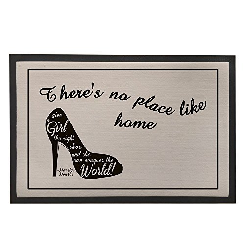 Non-Slip Rubber Backed Doormat Black and Grey Floor Mat Rugs for Entrance Way with High-heel Shoes (Black Microfiber Heels)