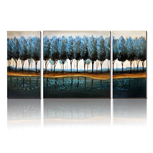 Blue Oil Painting (Blue Modern Forest Oil Painting On Canvas Wall Art-cubism- 3 Panels Handmade Abstract Landscape Tree Artwork for Bedroom,Stretch,Ready to hang)