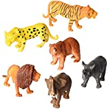 Animal Figure, 8 Inch Jumbo Jungle Animal Toy Set (6 Piece),Playkidz Toys Realistic Wild Vinyl Animal For Kids Toddler Child, Plastic Animal Party Favors Learning Forest Farm Animals Toys Playset