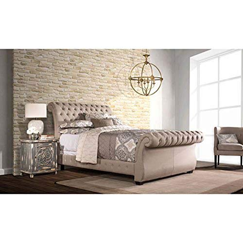 Hillsdale Bedroom Sleigh Bed - Hillsdale Furniture Upholstered Sleigh Bed (Queen: 81.88 in. L x 68.5 in. W x 47.5 in. H)