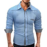 Farjing Men's Blouse -Clearance Sale Men's Autumn Pure Color Long Sleeved Stand Collar Button Sweatshirts Top Blouse(XL,Sky Blue