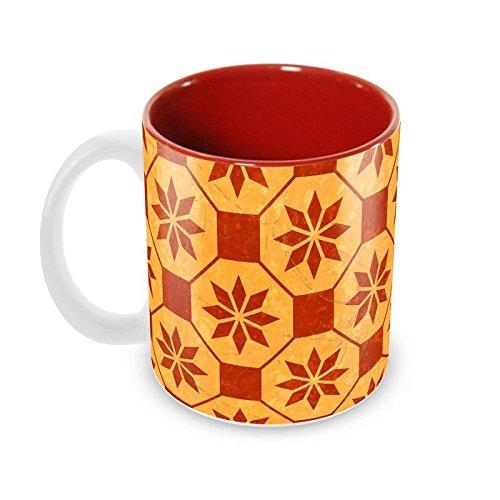 Tuelip Beautiful Cartouche Pattern Printed Inside For Tea Mug And Coffee Mug Ceramic Mug 350 Ml Red