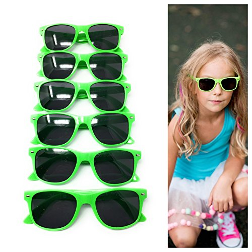 Green Kids Sunglasses (6 Pack) – 100% UV Protection for The Beach, Pool and Outdoor Activities - Reduces Glare and Eye Strain - Wayfarer Style Glasses - Best for Party - John Green Glasses