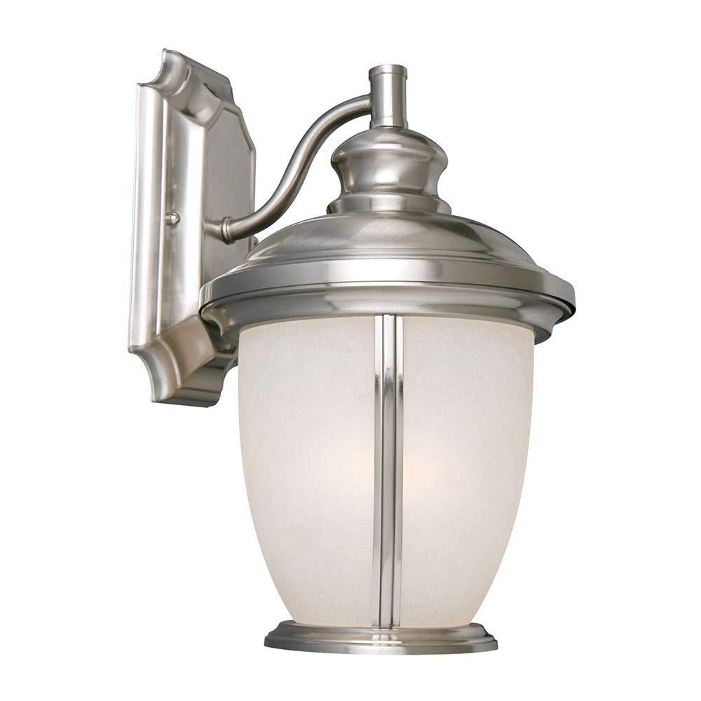 Design House 517698 Bristol 1 Light Indoor/Outdoor Wall Light, Satin Nickel
