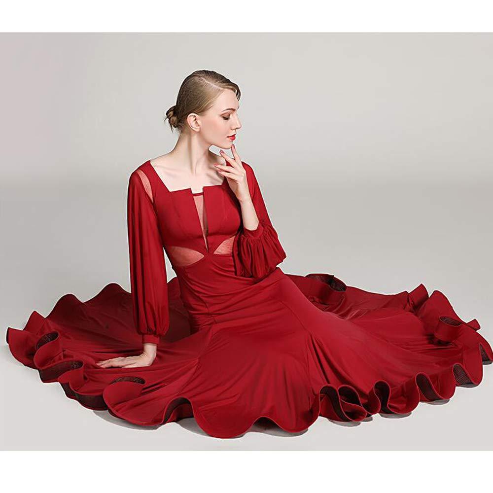 女性ラテンダンスドレス衣装ベリーダンススカート赤手作りアイスシルクタンゴ社交ダンス服ガウンフルスカート XL 2XL  XXL