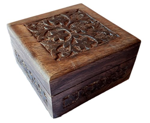Antique Handmade Wooden Urn Flower Engraving Handcarved Jewellery Box for Women-Men Jewel | Home Decor Accents | Decorative Urns | Storage  Organiser