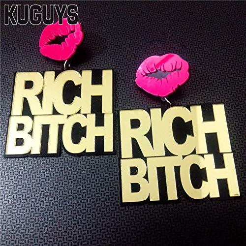 Jewelry Acrylic Gold Rich Bitch Super Large Earrings for Women Pendientes Hiphop Sexy Lip Earring Ds Dj Brincos