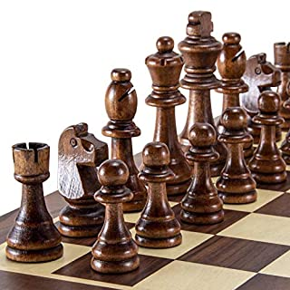 AMEROUS Wooden Chess Pieces Only, Tournament Staunton Wood Chessmen with 3.5 inches King, Chess Game Pawns for Chess Board Game, Replacement of Missing Pieces (2 Storage Bag Included)