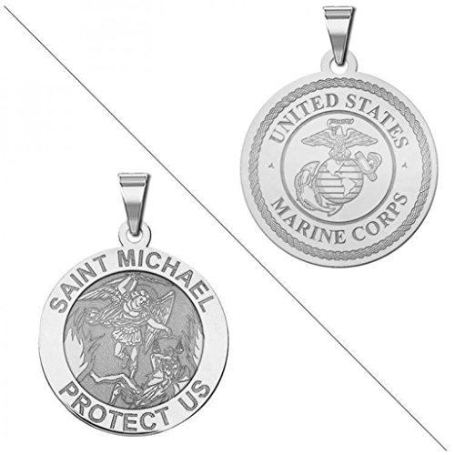 Saint Michael Doubledside Marines Religious Medal   3 4 Inch Size Of A Nickel   Sterling Silver