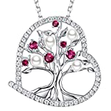 June Birthstone White Pearl Necklace Jewellery Birthday Gifts for Womens Tree of Life July Birthstone Red Ruby Sterling Silver Anniversary Necklace Gifts for Her Wife Girlfriend Grandma 50cm Chain