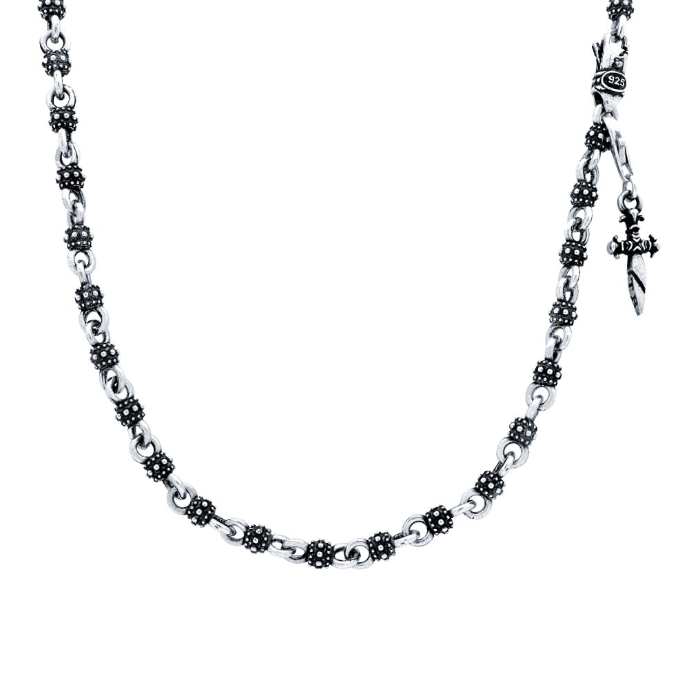Twisted Blade 925 Sterling Silver Studded Ball Link With Dangling Dagger Charm Necklace 24''