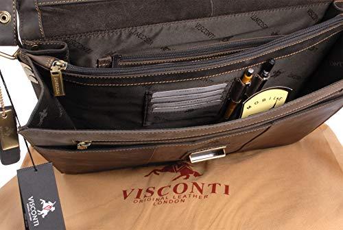 Marron signé en cuir Porte Visconti Document Fermable Sac 16038 fOXSn8t
