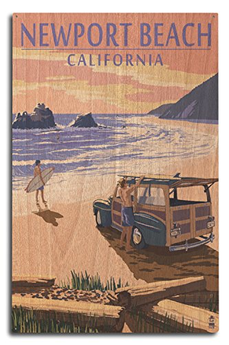 Lantern Press Newport Beach, California - Woody on Beach (10x15 Wood Wall Sign, Wall Decor Ready to Hang) -