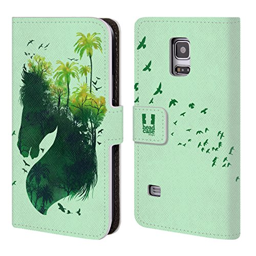 Head Case Designs Horse Wildlife Silhouette Leather Book Wallet Case Cover For Samsung Galaxy S5 mini