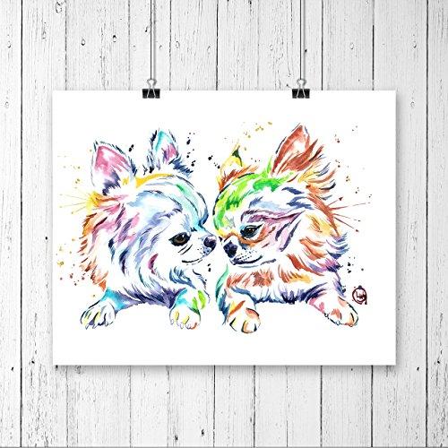 CHIHUAHUA FRIENDS PRINT, Chihuahua art, Chihuahua watercolour, Pet Portrait, Dog Art, Dog Print, Dog Lover, Gift under 25