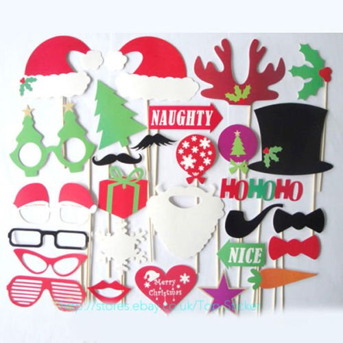 28x Christmas Photo Booth Props Mustache On Stick Wedding Birthday Party Decor (Sexy Thanksgiving Pictures)