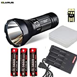 Super Torch KLARUS G35 XHP35 HI D4 LED 2000LM beam distance up to 1000 meter search light hunting, camping ,rescue flashlight with 3 x 18650 3600mAh Battery, C4 charger,battery case,mini USB light