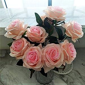 XGM GOU 9 Heads/Bouquet Artificial Silk Decorative Rose Flower for Wedding Party Decoration Bouquet 7 Colors Home Decoration 100