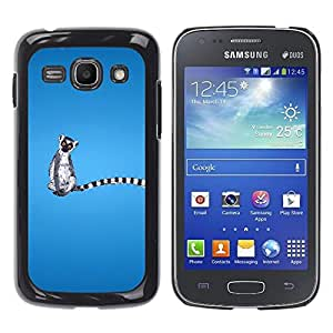 TECHCASE**Cubierta de la caja de protección la piel dura para el ** Samsung Galaxy Ace 3 GT-S7270 GT-S7275 GT-S7272 ** Long Tail Grey White Animal Ring Tailed Lemur Rainforest