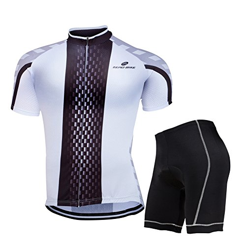 ZEROBIKE® Men's Short Sleeve Breathable Cycling Jersey 3D Padded Shorts Set Bicycle Clothing Full Zip