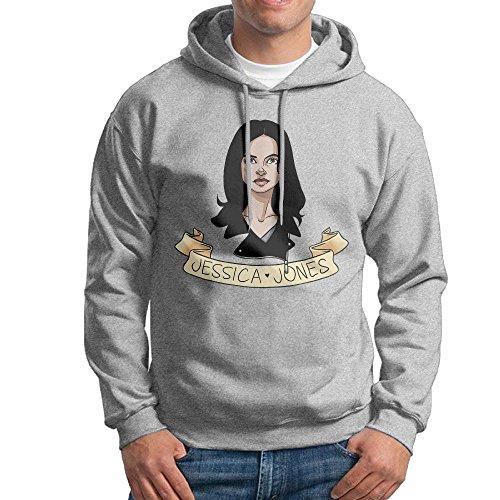 [FUOALF Mens Pullover Jessica Jones Head Hoodie Sweatshirts Ash M] (Jessica Jones Marvel Costume)