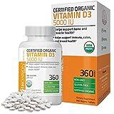 Bronson Vitamin D3 5000 IU Certified Organic Vitamin D Supplement, Non-GMO, USDA Certified, 360 Tablets