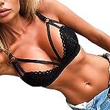 Jushye Sexy Lingerie Sets,Womens Corset Lace Flowers Bralette Bralet Bandage Bra Tank Cami Crop Underwear (Black, XL)