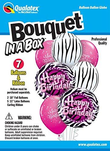 Qualatex 39344 Box 7 Piece Balloon Bouquet Zebra Birthday -