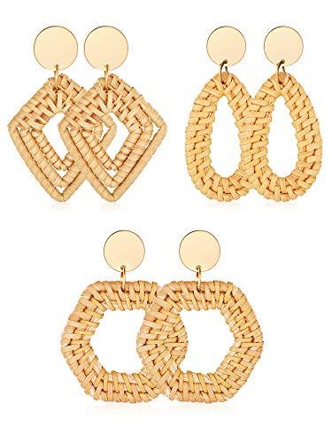 3 Pairs Geometric Rattan Earrings Woven Handmade Straw Earrings Wicker Braid Earrings Bohemian Statement Hoop Earrings Drop Dangle Earrings (Color 3) ()