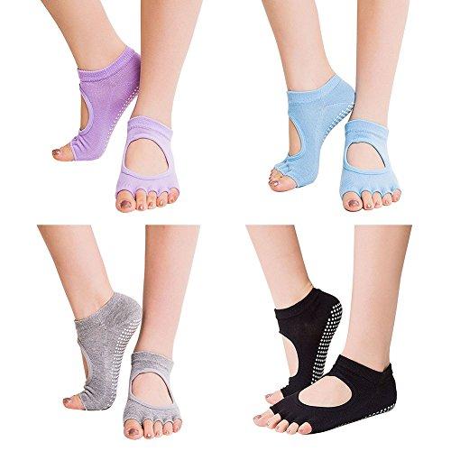 Chaussettes de yoga, CreaTion Paquet de 4 demi poignées anti-dérapant pour Ballet, Yoga, Pilates, Barre