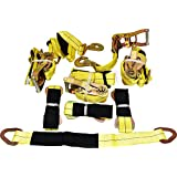 4 Yellow Axle Strap Tie Downs 24 Long And 4 Ratchet Tow Straps Car Haulers