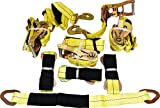 "4 Yellow Axle Strap Tie Downs 24"" Long and 4 Ratchet Tow Straps Car Haulers"