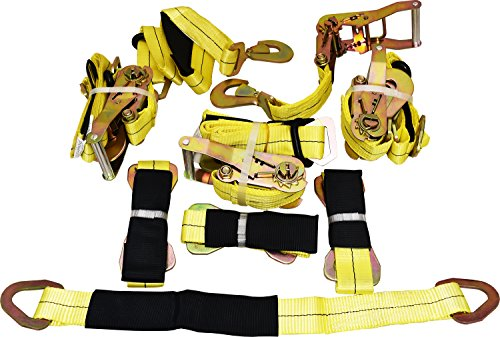 (4 Yellow Axle Strap Tie Downs 24