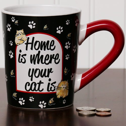 Tumbleweed 'Home Is Where Your Cat Is' Cat Mug; Coffee Cup, Coffee Mug
