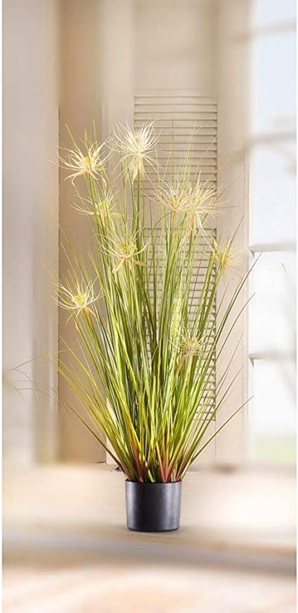 Amazon Com Artificial 43 In Reed Grass W Black Pot White Flower Kitchen Dining