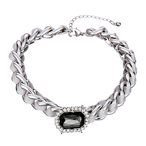 Qiji Women's Statement Roped Chunky Chain Choker Necklace Silver Color Handmade Stone Necklace Roped Linked Chain -