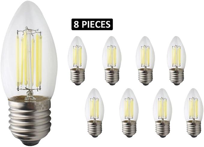 JCKing 8-Pack AC 220V E27 LED Filamento regulable Vintage Bombilla, 6W LED Bombillas para vela, 60W Bombillas incandescentes Reemplazo, SES Bombilla de luz para el candelabro Cool White: Amazon.es: Iluminación