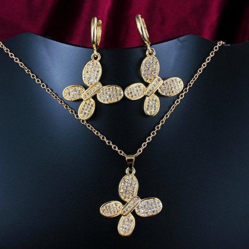 18kgp Earrings Set Pendant (925 Silver Store 18KGP gold plated mocro setting cubic zircon CZ butterfly shape pendant necklace drop earring Jewelry sets custom 925 sterling silver jewelry)