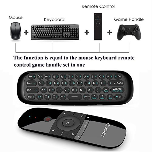 Wechip 2.4G Smart TV Wireless Keyboard Fly Mouse W1 Multifunctional Remote Control for Android TV Box/PC/Smart TV/Projector/HTPC/All-in-one PC/TV (Black) by WeChip (Image #2)