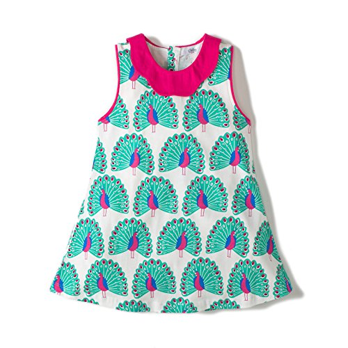 Gorboig Baby Playwear Dresses Girls' Casual Cotton Print Sleeveless Dress (5/6Y, Green)