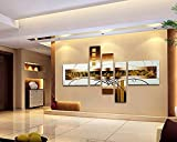 FLY SPRAY 5-Piece 100% Hand Painted Oil Paintings Panel Stretched Framed Ready Hang Golden Line Square Rectangle Modern Abstract Painting Canvas Living Room Bedroom Office Wall Art Home Decoration