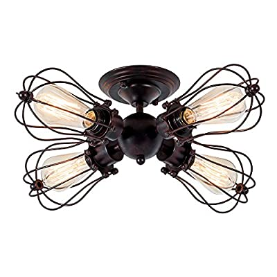 Industrial Ceiling Lights Rustic LULING Vintage Chandeliers Fixture Wire Cage Metal Semi-Flush Mount Ceiling Light Indoor Home for Gazebo Living Room Dining Room (No Bulb) (with 4 Light) (Rust Color)