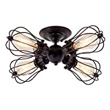 Cheap Industrial Ceiling Lights Rustic LULING Vintage Chandeliers Fixture Wire Cage Metal Semi-Flush Mount Ceiling Light Indoor Home for Gazebo Living Room Dining Room (No Bulb) (with 4 Light) (Rust Color)