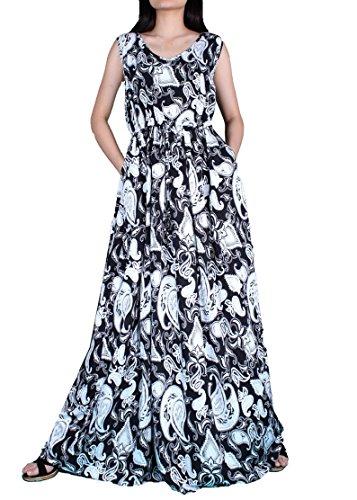 Dress Summer Beach Party Graduation Long Fancy Sundress Casual Maxi with Pockets (2X-Long 57 inch, Black/ White (Plus Size Indian Fancy Dress)