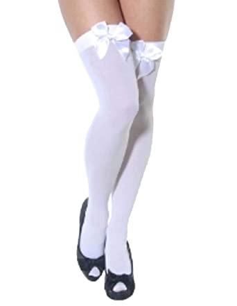 48719294233 Ladies Thigh High Hold Up Stockings with Coloured Satin Bows Many Colours  (white with white bow)  Amazon.co.uk  Clothing