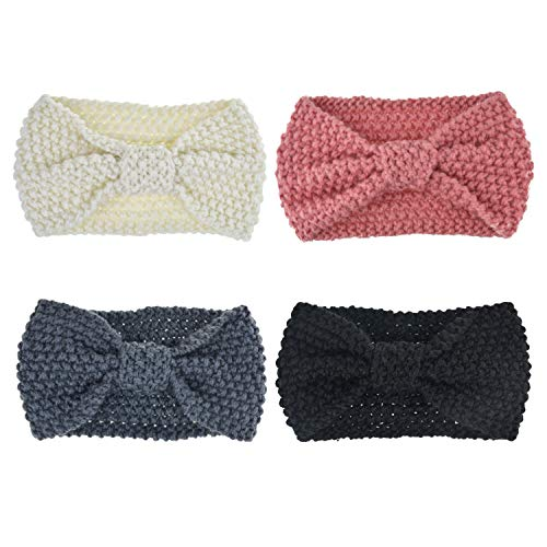 Hair Knot (DRESHOW 4 Pack Headbands Vintage Elastic Printed Head Wrap Stretchy Moisture Hairband Twisted Cute Hair Accessories (4 Pack Crochet Knot C))