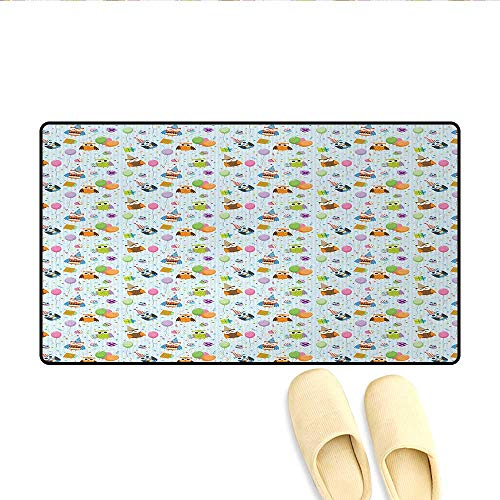 Bath Mat,Cheery Celebration Owls in Party Hats with Presents Confetti Balloons Tasty Cakes,Door Mats for Inside,Multicolor,Size:32